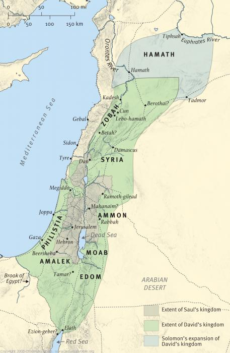 Map 5: Israel under Saul, David, and Solomon