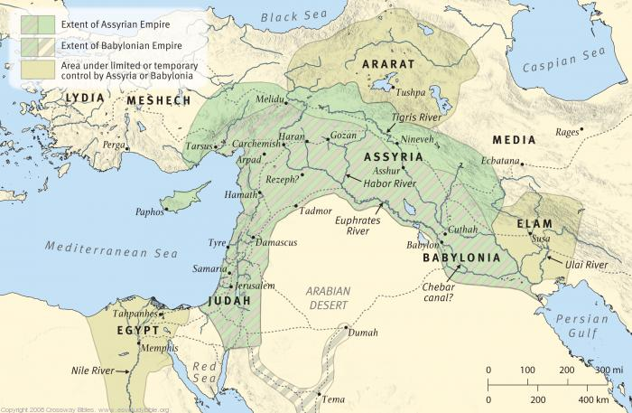 Map 7: The Assyrian and Babylonian Empires