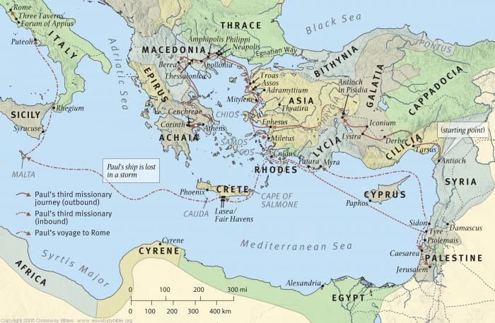 Map 14: Paul's Third Missionary Journey and His Voyage to Rome