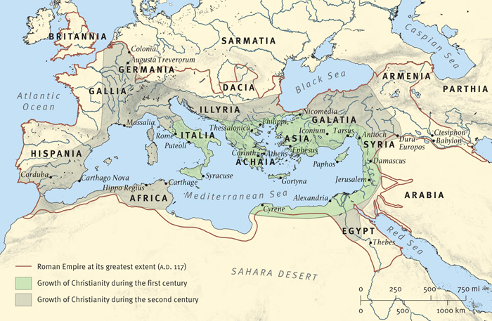 Map 15: The Spread of Christianity in the First Two Centuries